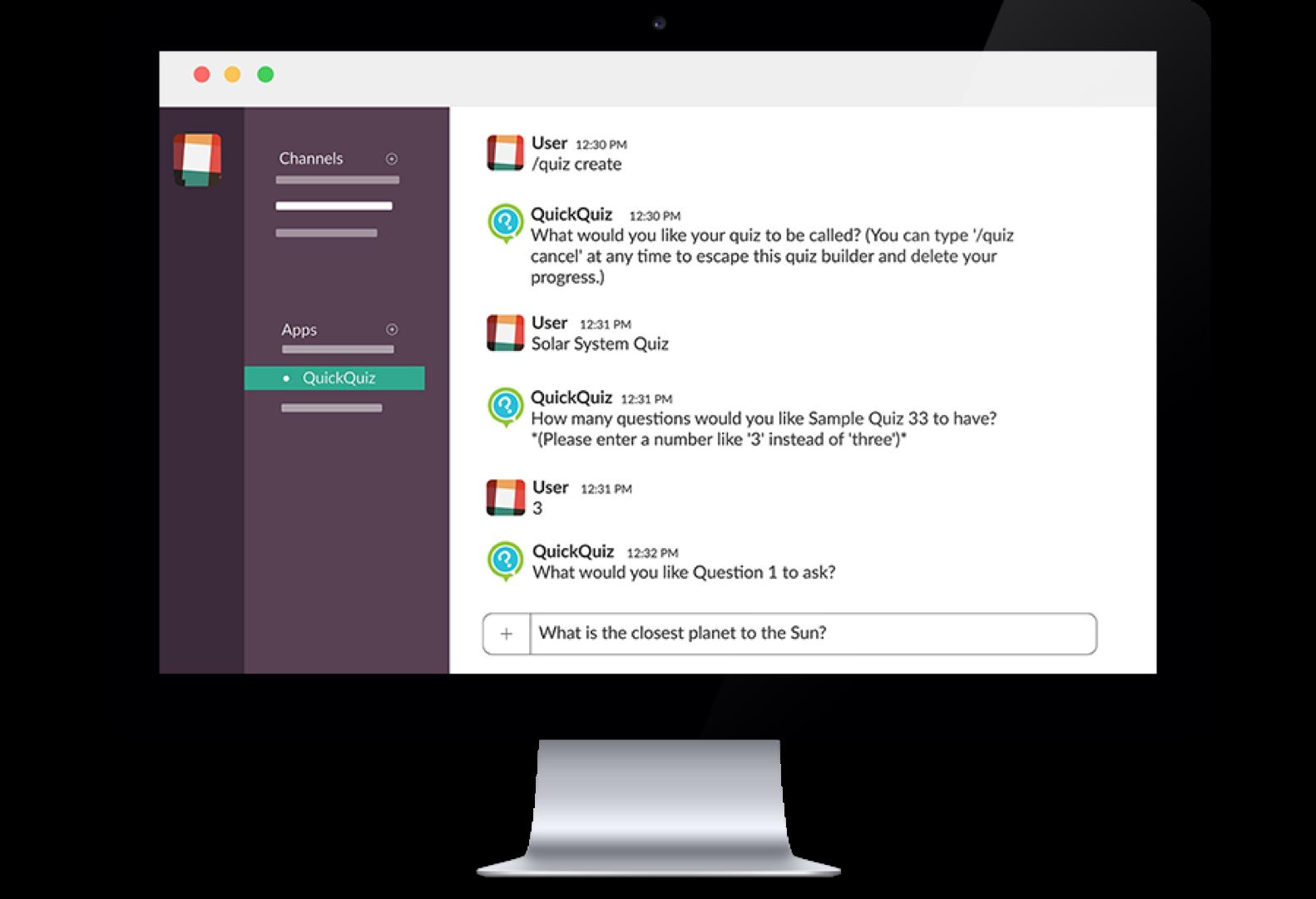 QuickQuiz eLearning Slack Application